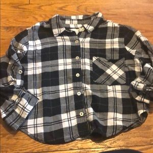 Forever 21 Buffalo Check Flannel Crop Top Small